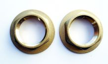 "PAIR OF SOLID BRASS 3/4"" BSP THREAD BATH TAP FLANGED BACKNUTS"